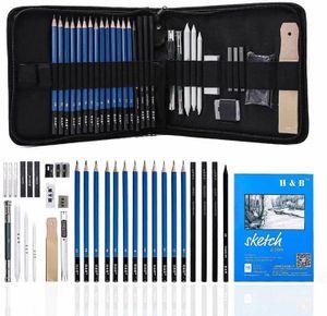35 Stück Zeichenstifte Skizzierstifte Set und Zeichnen Professionelle Art Set Graphitkohlestifte, Radiergummi Etc Full Bleistift Zeichnung Werkzeug mit Portable Reißverschlusstasche