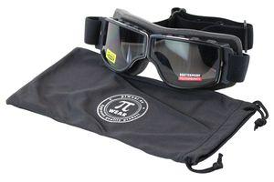 PiWear Motorrad Retrobrille Nevada SM, schwarz, Anti-Beschlag, auch für Brillenträger