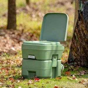COSTWAY 20L + 12L Campingtoilette mit abnehmbarem Abwassertank, Campingklo tragbar, Reisetoilette, Mobile Toilette für Reise, Camping und Wohnmobil