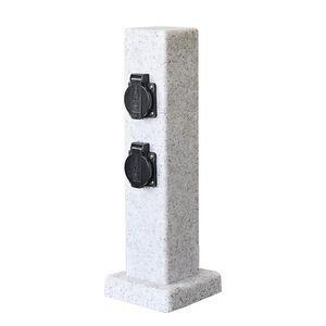 Steckdosensäule für außen Granit Optik 4 Steckdosen IP44