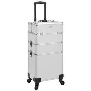 SONGMICS Kosmetikkoffer, 34,8 x 25 x 71,5 cm, professioneller Make-up Koffer, 3-in-1 Schminkkoffer für Reisen, großer Trolley für Friseure, abschließbar, mit um 360° drehbaren Universal-Rollen, silbern JHZ01S