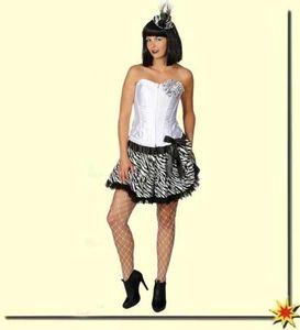 Pettiskirt Zebra Look zum Damen Kostüm an Karneval Fasching Gr.L/XL