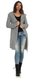 Mississhop Damen Lange Strickjacke Cardigan im besonderen Strickmuster mit Kapuze 3013 Grau