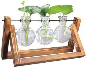 Deko Holz Halter mit Hydroponik Glasvase Hängevase Blumenvase Tischvase Dekovase (3 Vase)