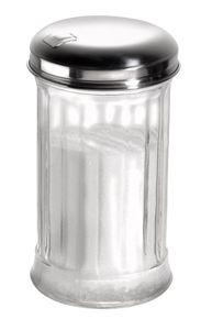 APS Zuckerdosierer  /// Ø 7,5 cm, H: 13,5 cm, 320 ml  /// Behälter aus Glas  /// Schraubdeckel aus Edelstahl /// 40487