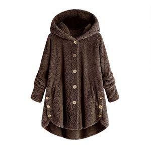 Frauen Plus Size Button Plüschoberteile Kapuze Lose Strickjacke Wollmantel Winterjacke Größe:XXL,Farbe:Taupe