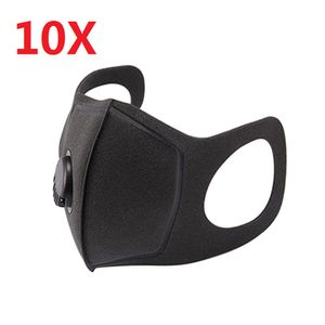 10X wiederverwendbare Atemventil Schwammmaske staubdichter Sonnenschutz Anti-Fog-Dunst kalter und warmer schwarzer Persönlichkeitsmaskenschwamm kann gereinigt werden