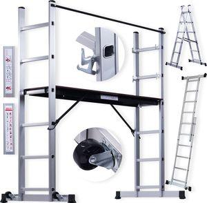 Masko® Baugerüst Alugerüst Gerüst ✓ Alu ✓ Leiter ✓ Arbeitsgerüst ✓ Arbeitsbühne | bis 150 KG belastbar | Anti-Rutsch beschichtet | Gerüstleiter |   (EN 131)