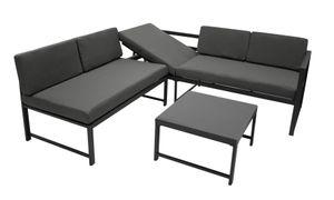 DEGAMO Funktions Lounge Set Loungeset Loungegruppe MONTANA mit Liegefunktion, Metall dunkelgrau, Polster grau