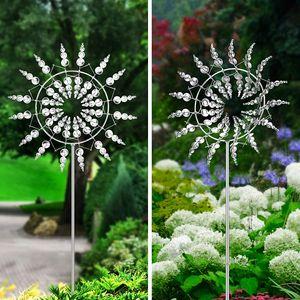 Metall Windmühle Garten Dekor, Magische 3D Windrad aus Metall, Windspinner mit stabilem Pfahl  für Draußen, Hof, Terrasse, Garten