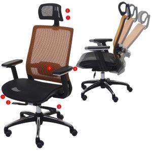Bürostuhl HWC-A20, Schreibtischstuhl, ergonomisch Kopfstütze Stoff/Textil ISO9001  schwarz/orange