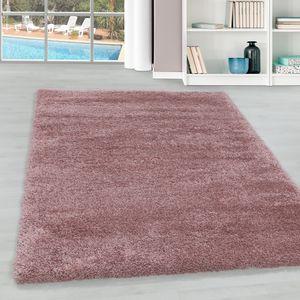 Teppium Hochflor Teppich, Wohnzimmerteppich, Unifarben Shaggy, Rechteckig ROSA, Farbe:ROSA,140 cm x 200 cm
