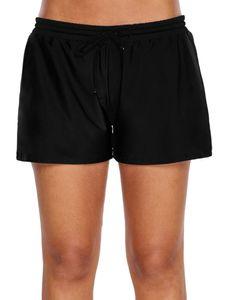 Sexy Dance Damen Hohe Taille Badeshorts Bikini Bottom Shorts Badeanzug Strandkleidung,Farbe:Schwarz,Größe:XL