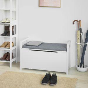SoBuy FSR76-W Sitzbank mit Stauraum Sitztruhe mit Klappe Truhenbank Spielzeugkiste Schuhbank mit Sitzfläche Belastbarkeit 120 kg Weiß