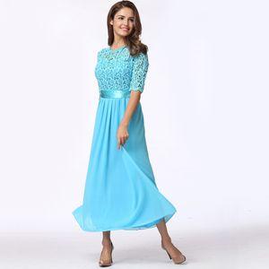 Frauen-Kleid-Spitze-Chiffon- halbe Huelsen-duennes Maxi-Kleid-elegantes Prinzessin-Abend-Partei One-Piece4XL