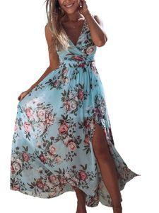Damen Beach Blumendruck Boho Chiffon Ärmelloses Maxikleid Sommerlanges Kleid,Farbe: Hellblau,Größe:XXL