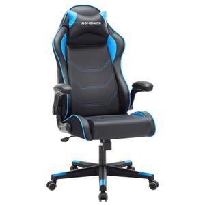 SONGMICS Bürostuhl Gamingstuhl ergonomischer Schreibtischstuhl, verstellbaren Armlehnen, höhenverstellbar schwarz-blau RCG014B01