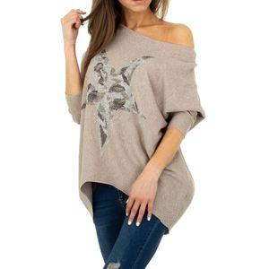 Ital-Design Damen Pullover & Strick Longpullover Beige