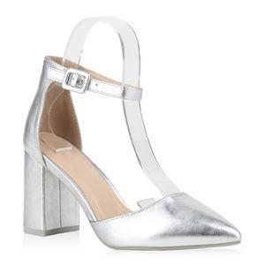Mytrendshoe Damen Spitze Pumps Chunky High Heels Blockabsatz Party Schuhe 826011, Farbe: Silber, Größe: 37