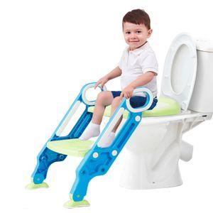 GOPLUS Töpfchentrainer für Kinder, Toilttentrainer mit Treppe Armlehnen, Toiletten-Trainer Rutschfest und Stabil, Toilettensitz Klappbar und Höhenverstellbar, geeignet für 2 bis 7 Jahre (Blau)