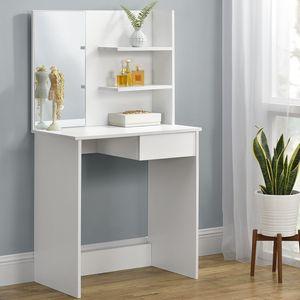 Juskys Schminktisch Jenna – eleganter Kosmetiktisch 75 x 40 x 135 cm in Weiß – moderner Frisiertisch aus Holz mit Spiegel, Schublade & 2 Ablagefächern