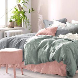 Halbleinen Bettwäsche 135x+200 + 80x80cm 2 teilig, grün, aus Baumwolle und Leinen