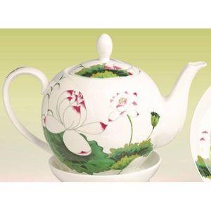 Teekanne LOTUS für 1L weiß grün Bone China Porzellan Tea Logic