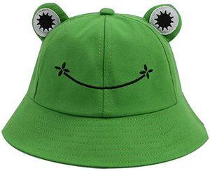 Buckethut für Erwachsene, Frosch, Anglerhut, Sonnenhut, Sommermütze aus Baumwolle, niedlicher Frosch-Hut für Damen(56-58 Cm)