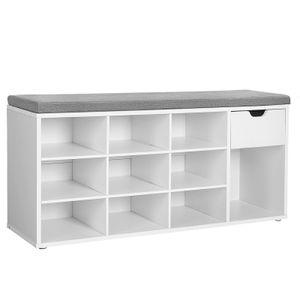 VASAGLE Schuhregal mit Schublade und offenen Fächern 104 x 30 x 48 cm Schuhbank Sitzbank gepolsterter Sitz weiß LHS24WT