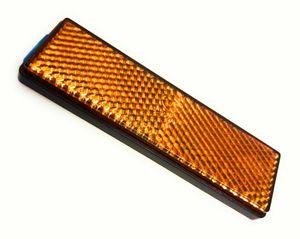 Reflektor, Katzenauge, Seitenstrahler, orange, rechteckig, selbstklebend mit E-Prüfzeichen E4