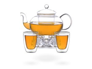 Melina Teeset / Teeservice / Teekanne Glas 1,3 liter mit Sieb, Stövchen und 2 doppelwandige Teegläser je 200ml