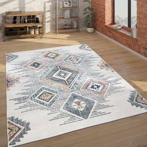 Teppich Wohnzimmer Geometrisches Ethno Muster Kurzflor Mehrfarbig Beige Grau Rot, Grösse:240x340 cm