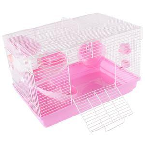 Hamsterkäfig Nagerkäfig Mäusekäfig mit Laufrad, Futterschüssel, Wasserflasche, Häuschen und Rutsche in Rosa