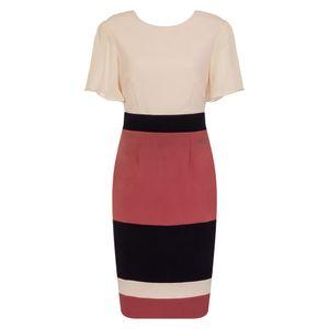 Paper Dolls Damen Kleid Cannes mit Blockstreifen LZ157 (38 DE) (Pink/Marineblau)