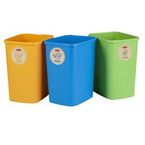 Eco Friendly 3er-Set Mülltrennungssystem 3x10L Mülleimer Mülltrennung Papier Glas und Kunststoff Recycling-Eimer aus Kunstoff