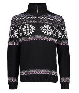Campagnolo Herren Freizeit Ski Strickpullover norweger Style schwarz, Größe:54