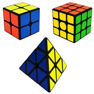 Zauberwürfel Speed Cube Set Pyraminx + 2x2x2 + 3x3x3 Magic Puzzle Cubes 3 Pack Zauber Würfel PVC Aufkleber für Kinder und Erwachsene