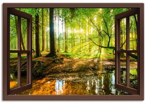 ARTland Leinwandbilder Fensterblick - Wald mit Bach Leinwandbild auf Keilrahmen Größe: 100x70 cm