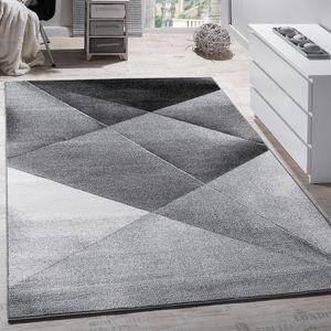 Designer Teppich Modern Geometrische Muster Kurzflor Grau Schwarz Weiß Meliert, Grösse:120x170 cm