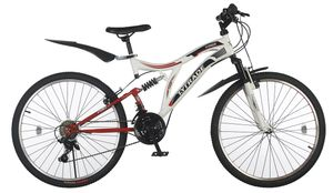 26 Zoll Kinder Jugend Jungen Mädchen Herren Fahrrad Kinderfahrrad Herrenfahrrad MTB Mountainbike Jugendfahrrad Bike Rad 21 Gang Beleuchtung Vollfederung Fully KINGS WEIß WEISS ROT