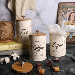3 Teile / Satz Vintage eisen versiegelte Dosen Lebensmittel Lagerung Behälter Aufbewahrungsdosen für Tee Kaffee Zucker