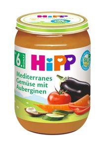 HiPP Gemüse ab 6.Monat, Mediterranes Gemüse mit Auberginen, DE-ÖKO-037 - VE 190g