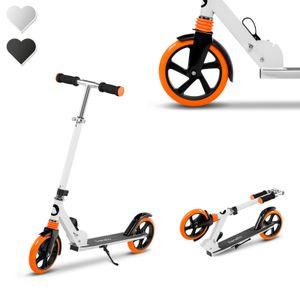 Lionelo Luca Roller Kinder Tretroller bis 100kg Räder 200mm Bremse zusammenklappbar Weiss Orange