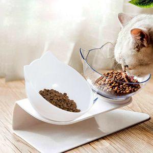 Futterschüssel Doppelnapf Katzennapf Hundenapf 15°Neigung Futternapf Gekippte rutschfeste Basis (Weiß+Transparent)