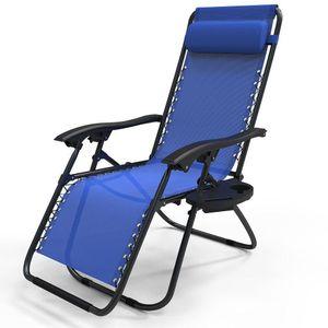 VOUNOT Liegestuhl Klappbar, Relaxstuhl Garten mit Getränkehalter und Kopfpolster, Blau