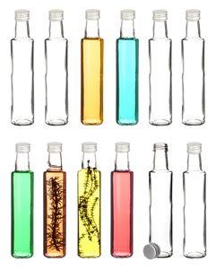12x Likörflaschen 250 ml rund mit Schraubverschluss - Schnapsflaschen zum Befüllen - Glasflaschen