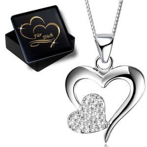 Damenkette 45cm Herz echt 925 Sterling Silber Halskette mit Anhänger Damen Frauen Kette Herzkette  K615+V11