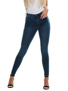 Damen ONLY Skinny Fit Jeans Stretch Denim Hose Basic ONLROYAL High Waist Röhrenjeans Bio Baumwolle, Farben:Dunkelblau, Größe:L / 32L