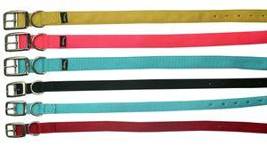 Hundehalsband Prism Classic aus doppeltem Nylongurt 1,9 cm breit Halsband für Hunde  Halsband Hund, Farbe:blau, Größe:15