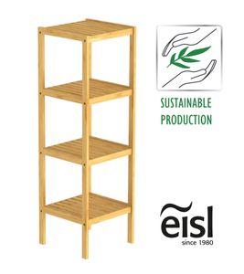 EISL Badezimmer Regal Bambus, Badregal schmal mit 4 Ablagefächern, nachhaltiges Badmöbel Bambus